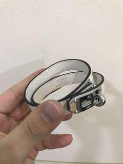 Hermes Leather Bracelets White