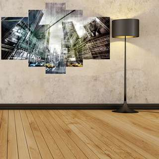 (Framed) 5 Pieces Modern Buildings Canvas Set