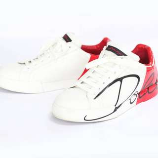Dolce & Gabbana Men's White Red Portofino Scrawled Logo Sneakers