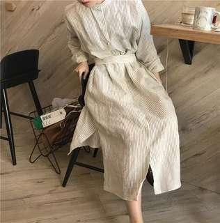 立領襯衫式條紋洋裝(附綁帶)