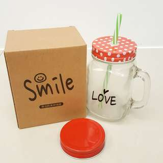 🚚 ⭐全新品 ⭐樂活輕食玻璃罐 (附吸管)