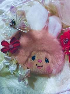 Plush Pink Rabbit Sekiguchi Chimutan Pouch - Cute Collectible Embroidered Bunny Zip Pouch