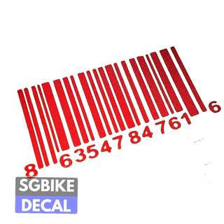 Red Barcode Reflective decal