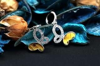 Navia Jewelry - Real Butterfly Wing Urania ripheus Silver Earrings Korea