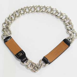 HERMES Bracelet in Black Leather, Palladium Silver Metal Chain Stamp Q in a square