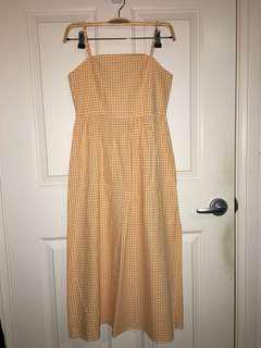 Yellow checked midi dress