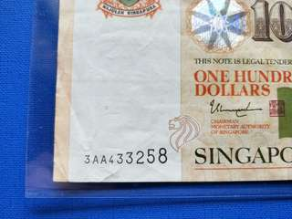 Singapore banknotes $100 AA prefix circulated note