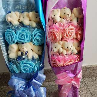 Graduation Bear Bouquet blue or pink
