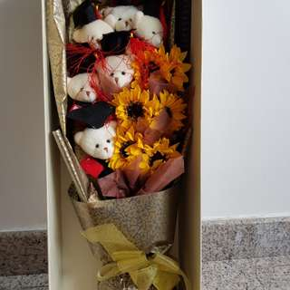 Sunflower Graduation Bear Bouquet