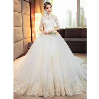 Wedding Collection - Classical High Collar Mid Length Lace Sleeves Long Tail Wedding Gown