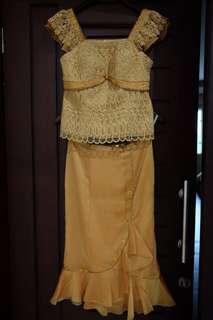 Custom dress set gold renda