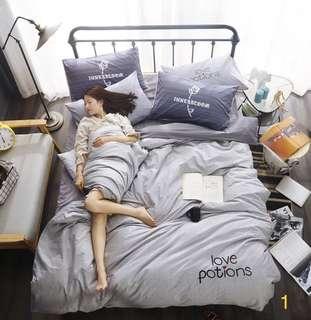 🚚 美式風休閒時尚簡約全棉床單加大四件組床組