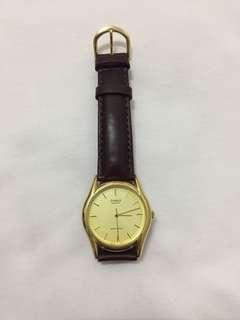 Casio watch (dark brown leather strap)