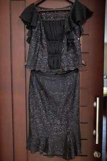 Custom dress set black payet