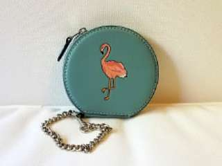 COACH Flamingo Round Coin Case with Chain 火鳥圖案