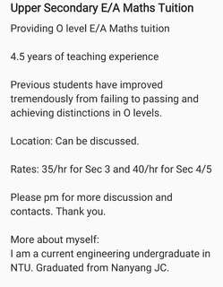 Providing Upper Secondary E/A Maths Tuition