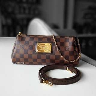 Authentic Louis Vuitton Damier Ebene Eva Clutch LV