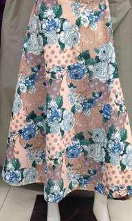 PO: Maxi Skirt - Beige Blue and Green Floral