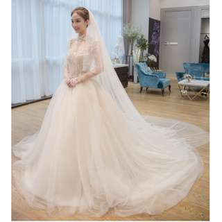 Wedding Collection - Generous Detailed Shoulder & Long Lace Embroidered Sleeves Design Long Tail Wedding Gown