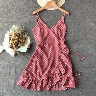 Pink polka dot adjustable dress