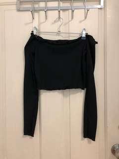 Black Off Shoulder Long Sleeve Crop
