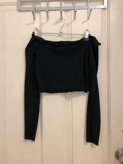 Black Off Shoulder Long Sleeve Crop