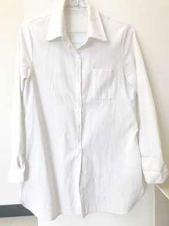 🚚 純白長版襯衫