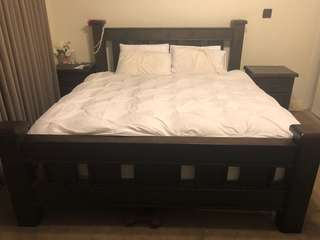 King size bed frame, 2x bed side tables
