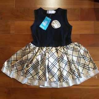 Koopo girl dress diagonal gold (4T)