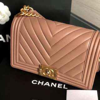 Brand New Chanel Chevron Old Medium Boy in Beige Calfskin with GHW