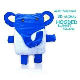 3D Hooded Pillow Blanket - BLUE ELEPHANT