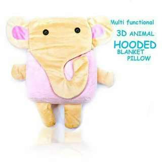 3D Hooded Pillow Blanket - PINK ELEPHANT