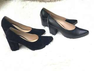 Black heels (Suede and synthetic)
