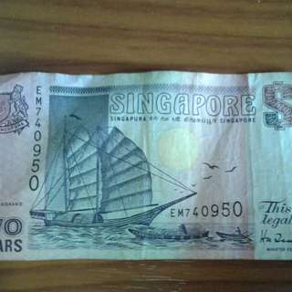 Singapore Ship Series old $2 note