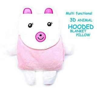 3D Hooded Pillow Blanket - PINK BEAR