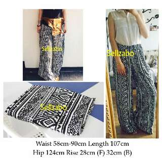 #S3 Pants Relax Wide Legs Bottom Flattering Flare Vintage Retro Boho Bohemian Hippies 70s 80s Muslimah Long Trousers Relaxing Sellzabo Ladies Girls Women Female Lady Design Style Tribes Tribal Black Colour Free Size
