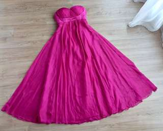 Fuchsia sweet heart long evening gown