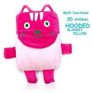 3D Hooded Pillow Blanket - PINK CAT