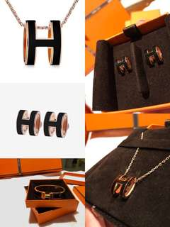 Hermes Pop H 黑金經典 earring / necklace / bangle