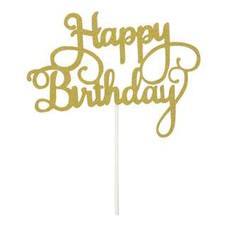 Glitter Happy Birthday Cake Topper - Gold/Silver/Pink/Blue