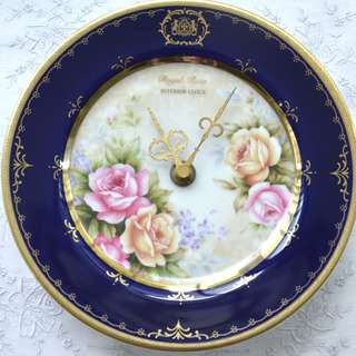 Vintage Clock 19cm ,Porcelain Royal Rose,working condition