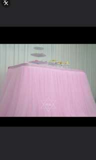 Pink table tutu for rent