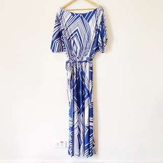 Koh Koh Blue and White Maxi Dress