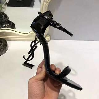 OPYUM 110 Sandals in Black patent leather and black metal (preorder)