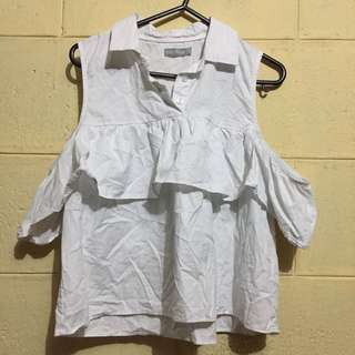 SALE❗️❗️❗️ 6ixty 8eight White Cold Shoulder Shirt