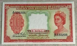 1953 MALAYA & BRITISH BORNEO QEII $10 A/37 330206 AU/UNC