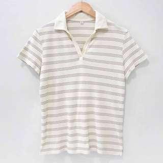 Uniqlo Kaos Polo T-Shirt Stripes Garis