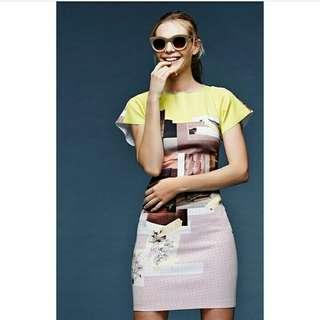 Graphic print dress neoprene