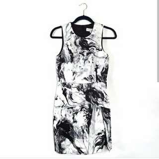 Marble print neoprene bodycon dress