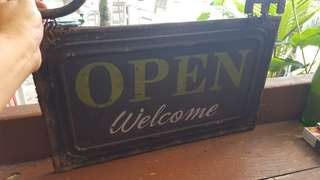 Rustic sign for bar open/ close